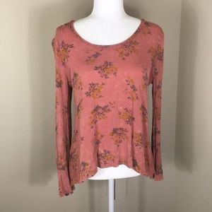 Gimmicks By BKE Pink w/ Yellow Floral Long Sleeve